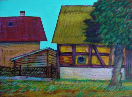 Stara stodoła-Łabusz,pastel olejny