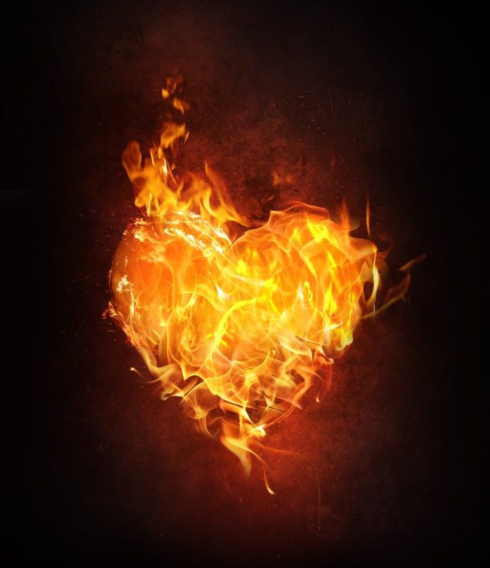 a flaming heart