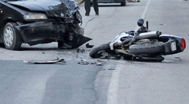 Poškodovana motorist in motoristka
