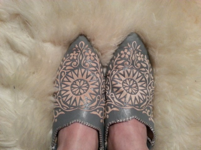 Moroccan slippers carved leather