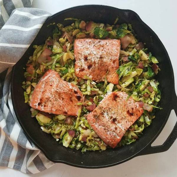 Salmon with roasted shaved brussels is whats for dinner Andhellip