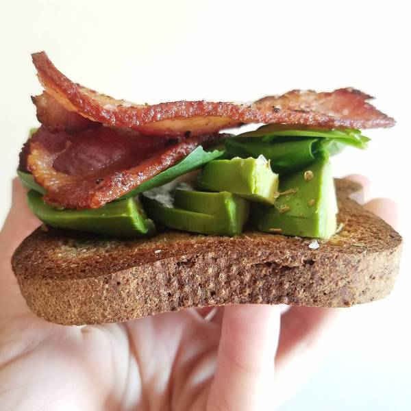 Saturday morning consumption is barelybread avocado spinach and wellshire baconhellip