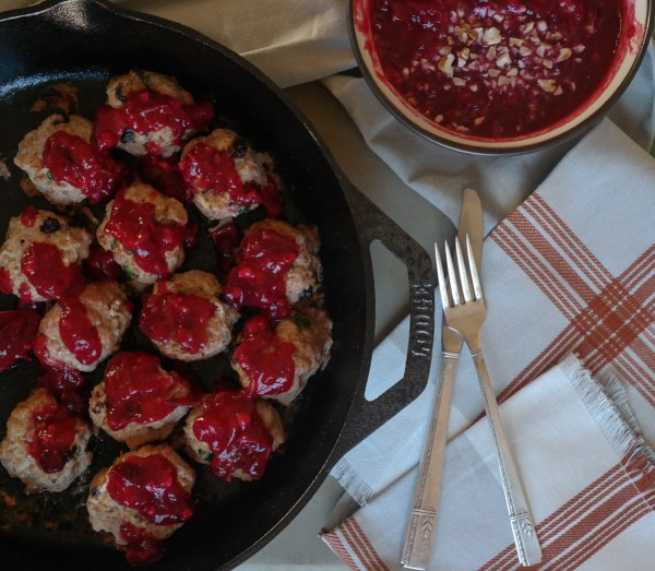 harvest meatballs with cranberry sauce