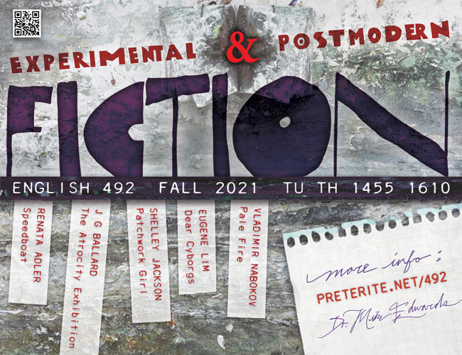 experimental and postmodern fiction flyer
