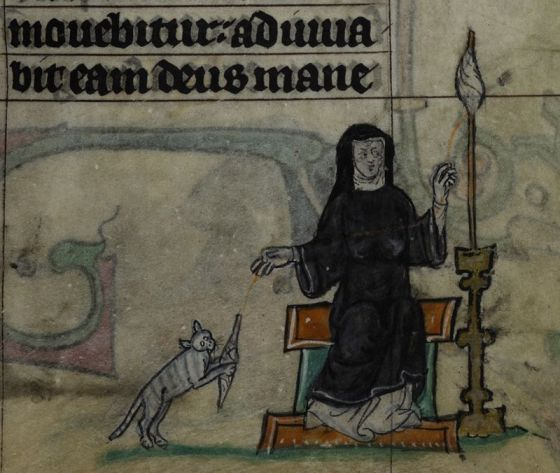 Detail of a miniature of a nun spinning thread, as her pet cat plays with the spindle