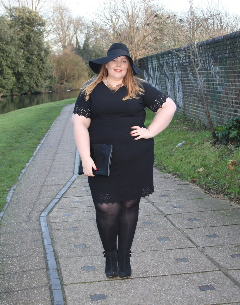 e90a353a15c I m sure we all have a little black dress in the wardrobe somewhere for  party emergencies. Well this laser cut shift dress from Boohoo Plus has  made its way ...