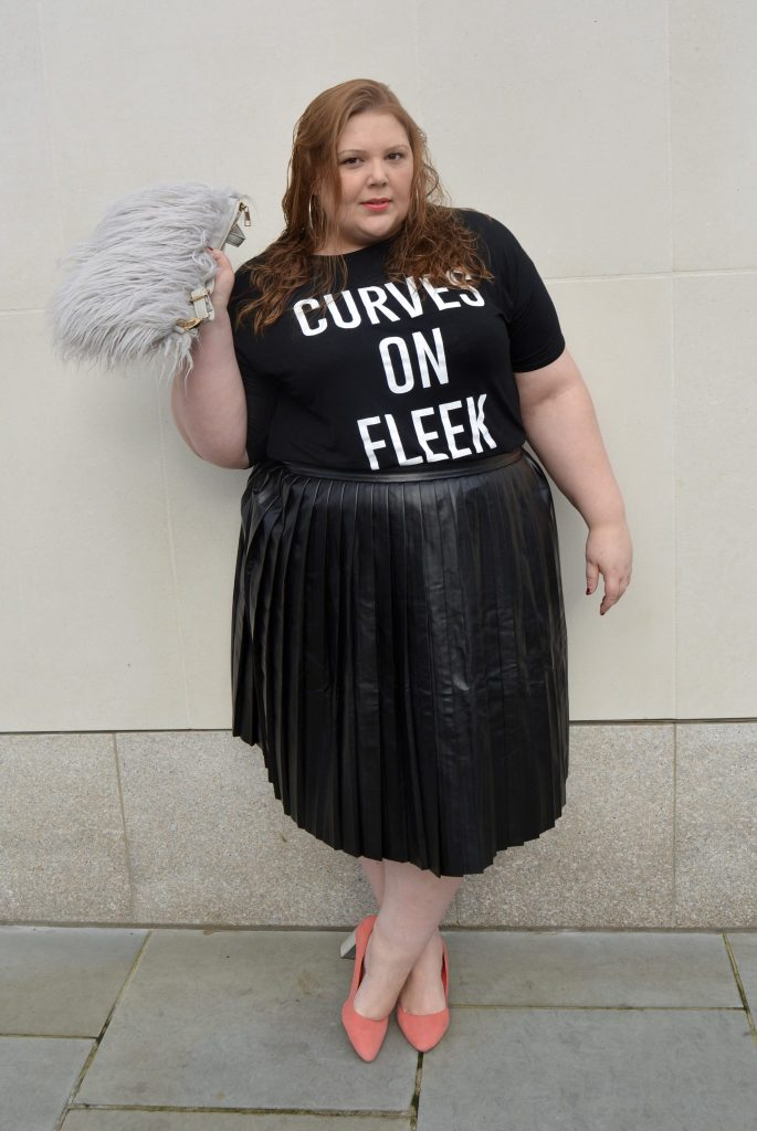 Plus size blogger in PU Skirt