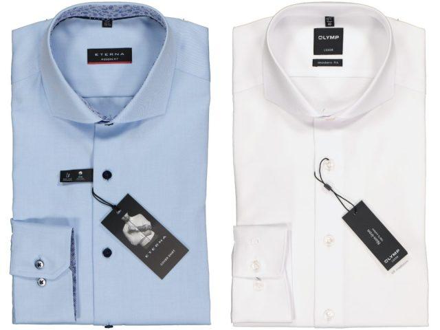 Wit en blauw overhemd