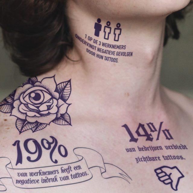 1 op de 3 heeft last van tattoo op het werk