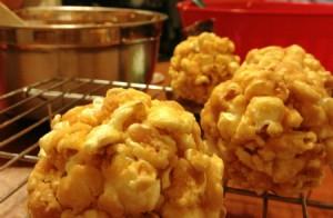caramal cheesecake popcorn balls