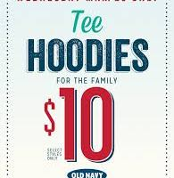 Old Navy: Tee Hoodie $10- March 26 ONLY
