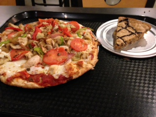 thin crust pizza and cookie pie