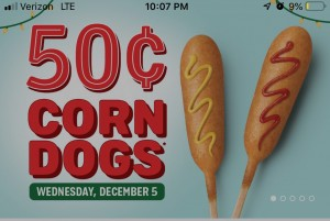 sonic 50 cent corn dog