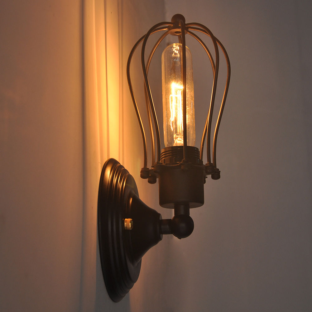 Industrial Retro Vintage Sconce Porch Wire Cage Wall Light ... on Non Wired Wall Sconces id=72727