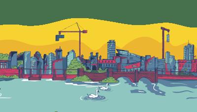 Cork skyline full vector graphic