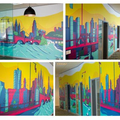 Cork Skyline full length on wall