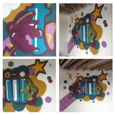 Original game themed spraypainted wall mural