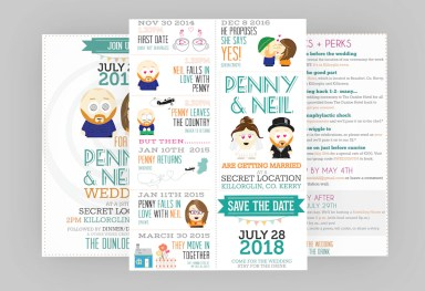 Wedding Stationary Design - Cartoon Style