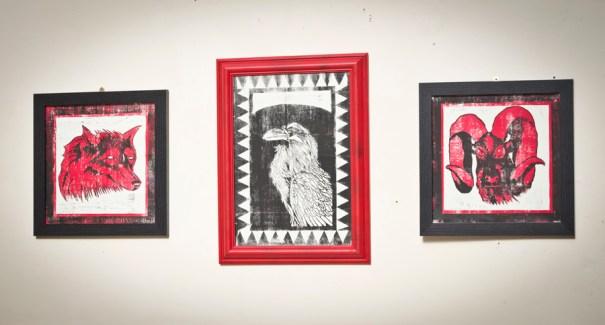 'Wolf', 'Raven', 'Ram' - Limited run Lino print