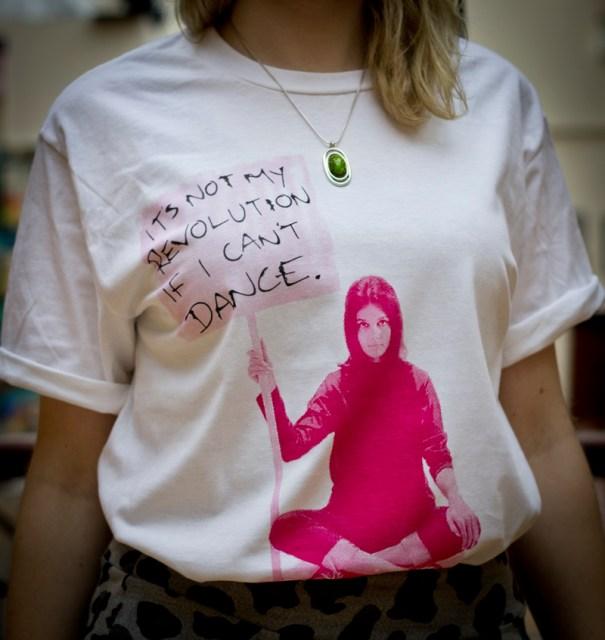 Screenprint on ladies tunic tshirt