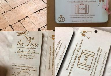 Wedding Invitation Design - Laser on Wood