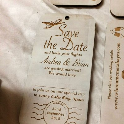 wedding invitation design on wood front