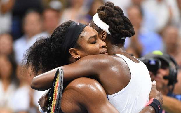 Sep 8, 2015; New York, NY, USA; Serena Williams of the USA (left) hugs sister Venus Williams of the USA after their match on day nine of the 2015 U.S. Open tennis tournament at USTA Billie Jean King National Tennis Center. Mandatory Credit: Robert Deutsch-USA TODAY Sports  / Reuters  Picture Supplied by Action Images *** Local Caption *** 2015-09-09T020929Z_620176580_NOCID_RTRMADP_3_TENNIS-U-S-OPEN.JPG