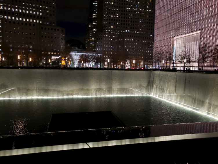 9/11 Memorial at night