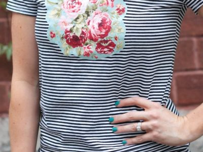 DIY No-Sew Floral + Stripes Tee