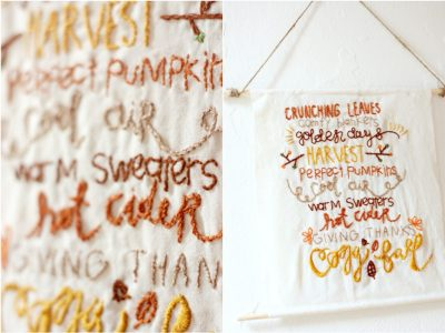 DIY Embroidered 'Fall Favorites' Banner