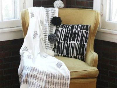 DIY Aztec Stamped Pom Pom Blanket