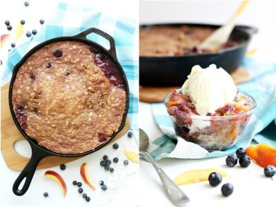 Skillet Peach and Blueberry Cobbler