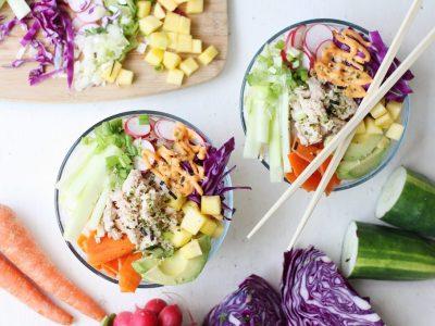 Poke Bowls with Tuna and Sriracha Mayo