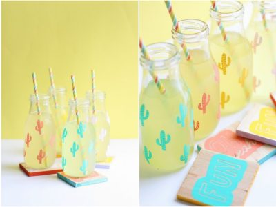 DIY Graphic Milk Bottles + Coasters