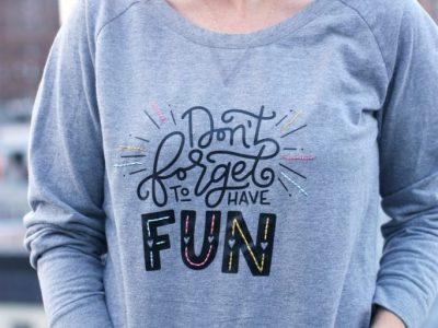 DIY Heat Transfer + Embroidered Sweatshirt (and a GIVEAWAY!)
