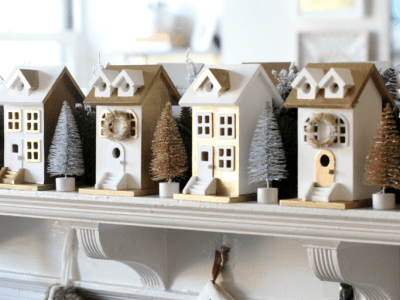 Watch our DIY Gilded Christmas Village tutorial!