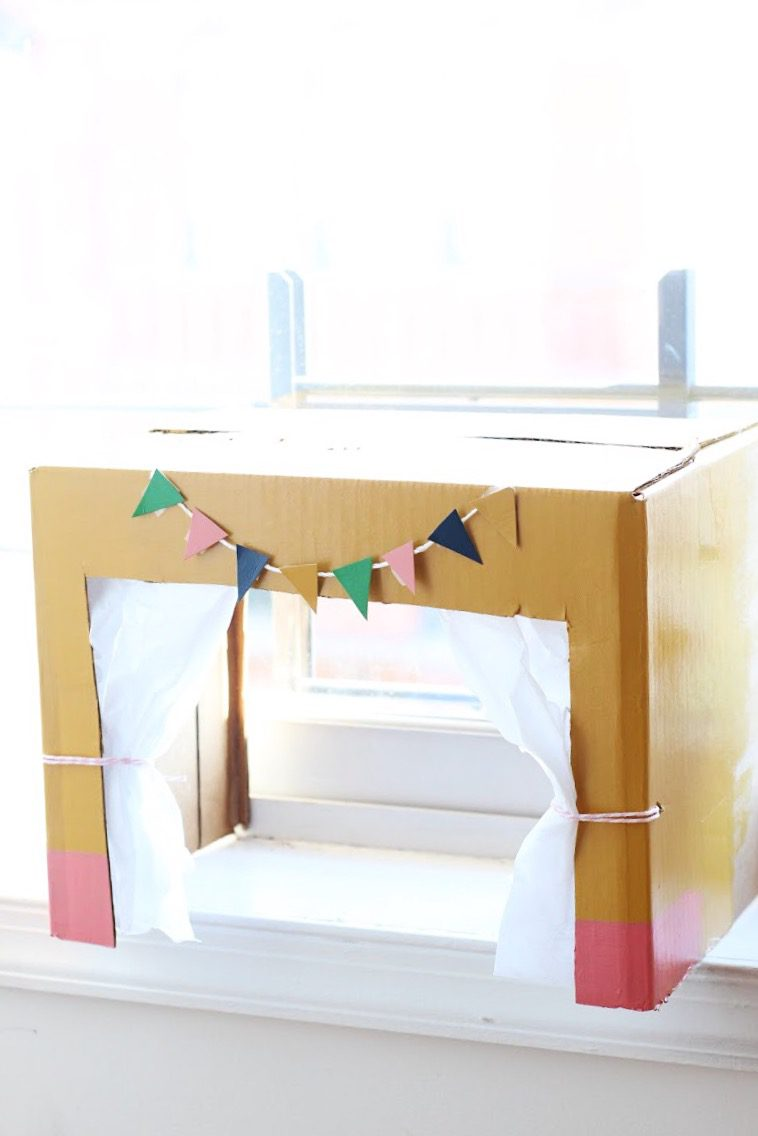 Diy Paint Brush Puppets Puppet Theater For Kids The Pretty Life Ox 921 Kitchen Scissor Lastly To Add Some Interest I Painted Cardstock Let It Dry Then Cut Out Flags That Attached Bakers Twine With Hot Glue Bunting