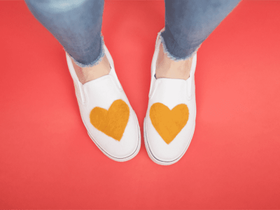 DIY Needle Felted Heart Shoes