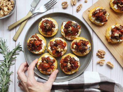 Baked Polenta Bites with Butternut Squash Bruschetta Recipe