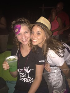 The bride to be and I on her bachelorette party weekend. Yes, I look drunk. It's what happens during these weekends.