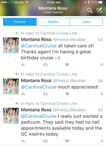 Twitter conversation with Carnival