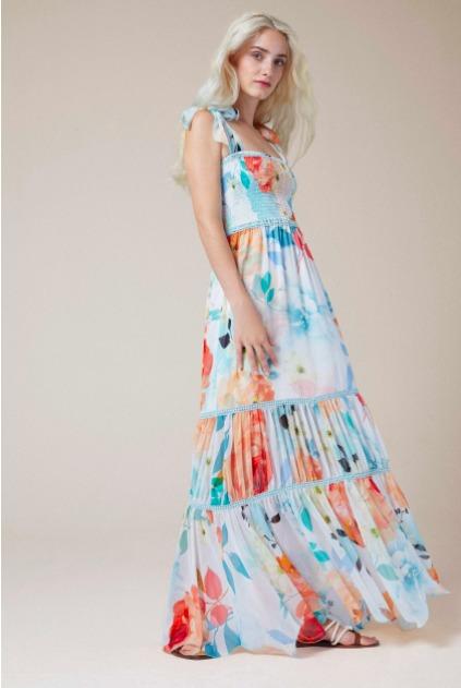 kvetinové maxi šaty na ramienkach s mašličkami od Charo Ruiz