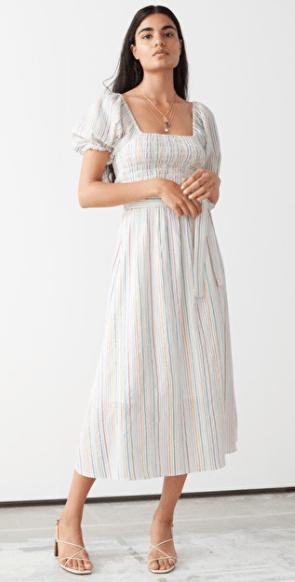 dlhe šaty z ľanu s farebnými zvyslými pásikmi