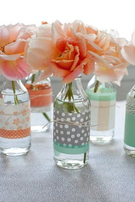 Floral Display using mini milk bottles