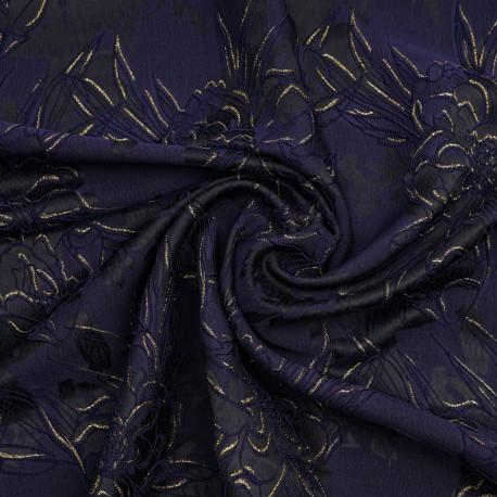 tissu jacquard noir a motif fleuri bleu et dore x 10 cm