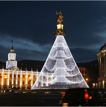 Christmas tree is decorated with the monument of St. George in the Freedom Square in Tbilisi