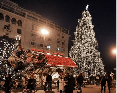 The Aristotelous Square Christmas tree in Greece