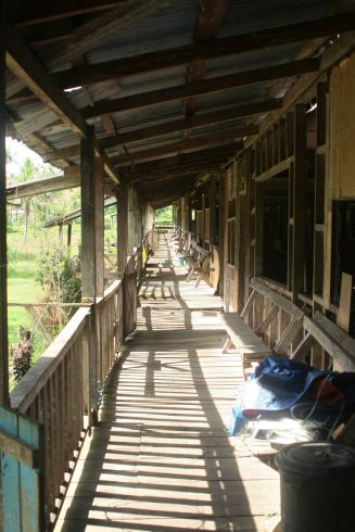 The long veranda of the longhouse