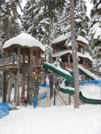 Playing at the tree fort on the mountain