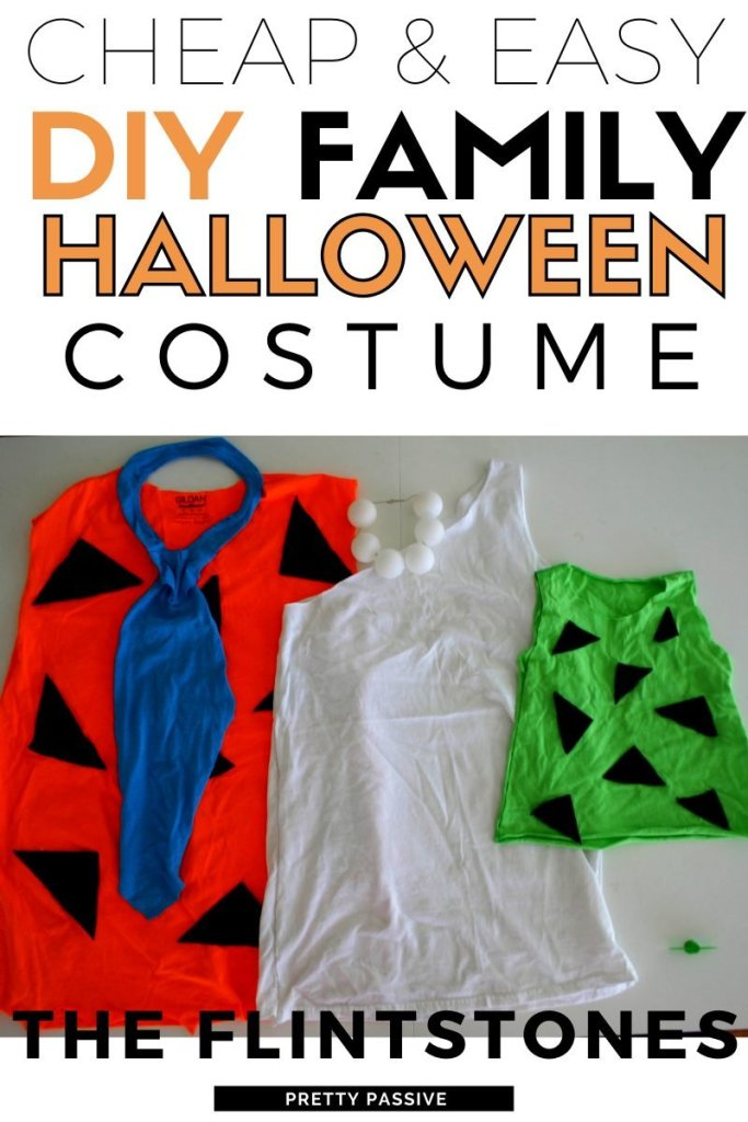 cheap & easy family halloween costume for 3 - the flintstones